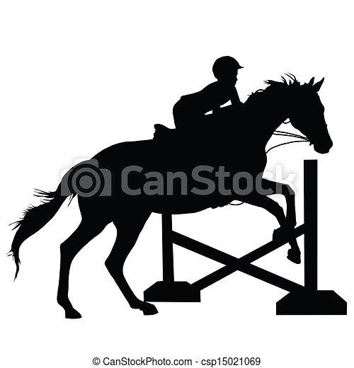 saltare, cavallo, silhouette - csp15021069