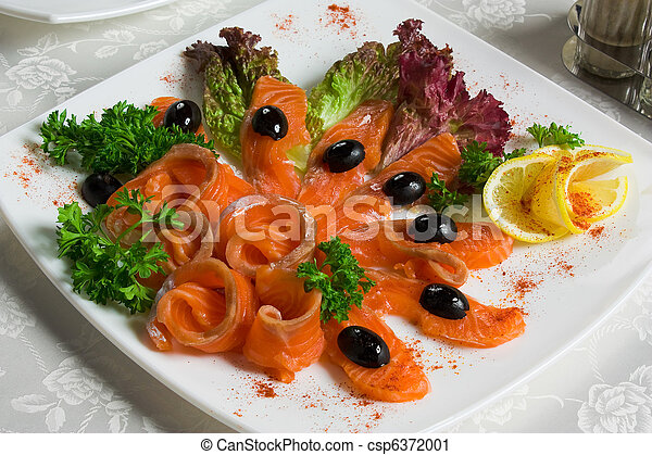 salted salmon sliced on a plate - csp6372001