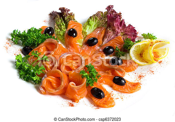 salted salmon sliced on a plate - csp6372023