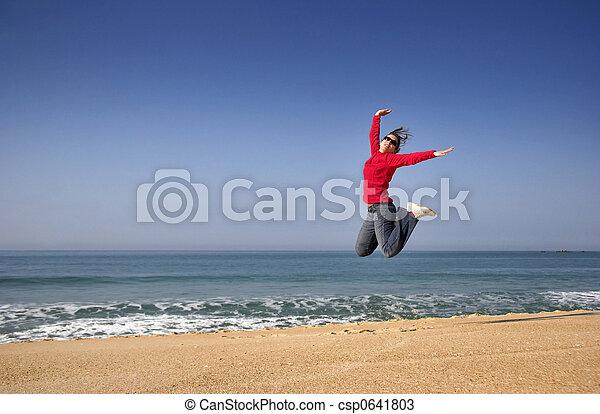 salto, felicidade - csp0641803