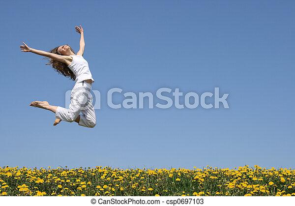 salto, feliz - csp0697103