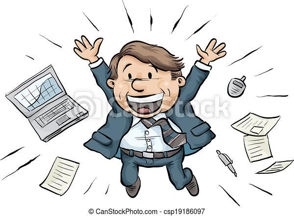 salto, homem negócios, alegria - csp19186097