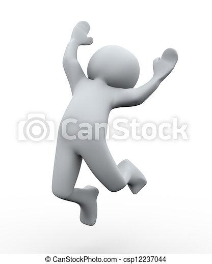 salto, pessoa, 3d, feliz - csp12237044