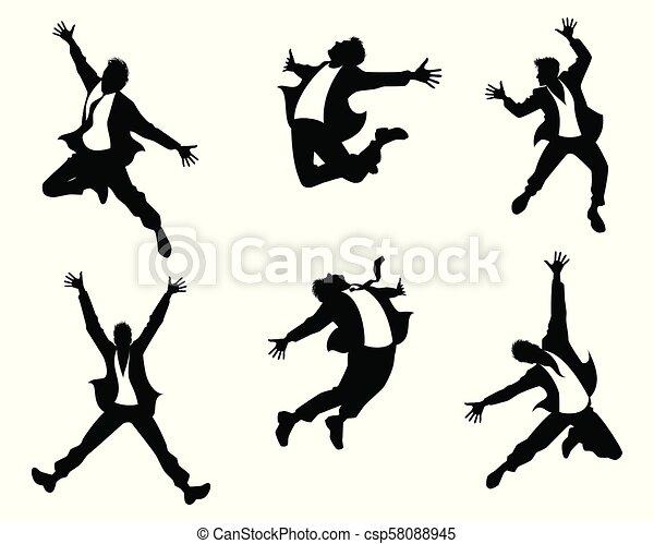 Siluetas de hombres en salto - csp58088945