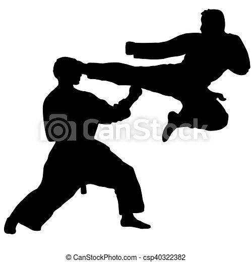 Karate. Deporte. Patada de salto - csp40322382