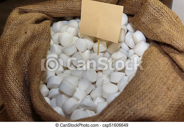 Salts Pills inside Burlap Sack