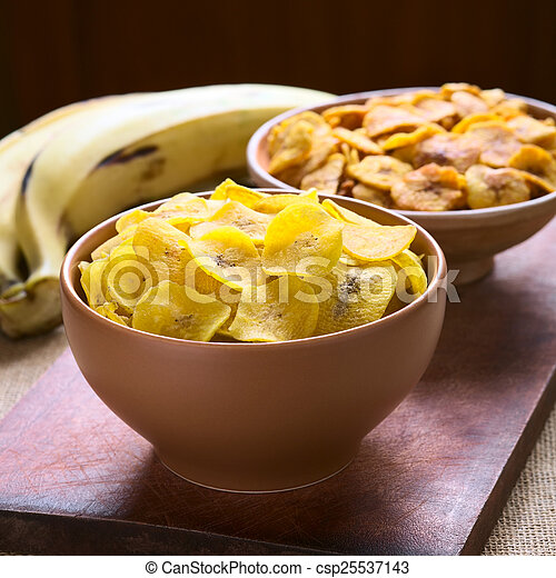 Salty and Sweet Plantain Chips - csp25537143