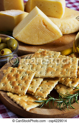 Salty cracker and hard cheese - csp4229014