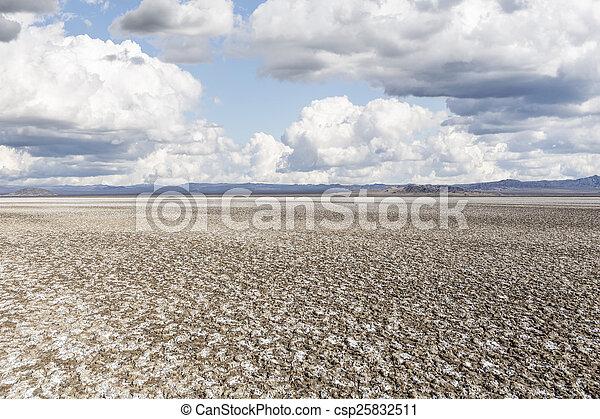 Salty Desert Dry Lake Mud Flats - csp25832511