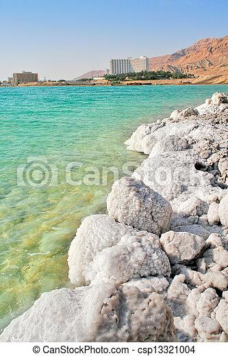 Salty shores on Dead Sea in Israel. - csp13321004