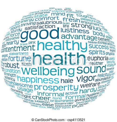 Buena salud y buena nube de etiqueta - csp4113521