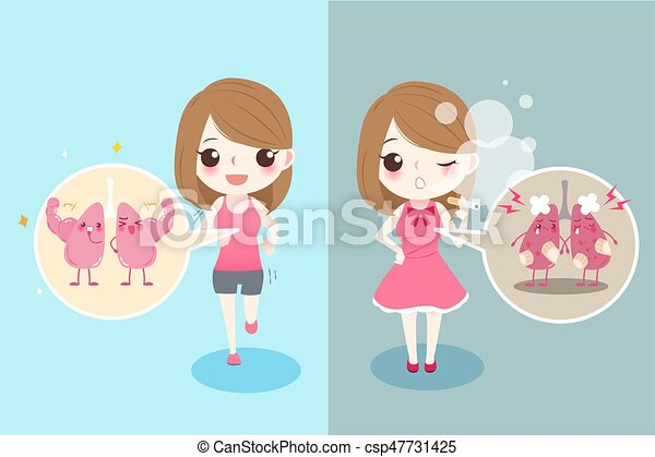 Mujer Con Salud Pulmonar Linda Mujer De Dibujos Animados