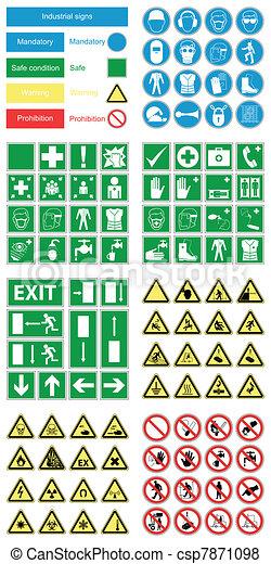 salud, y, seguridad, peligro, señales - csp7871098
