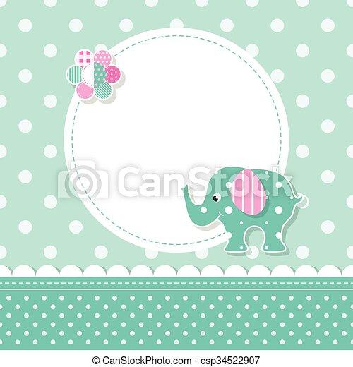 Saluda bebe, tarjeta, elefante. Rosa, oreja, flor, colorido, patrón ...