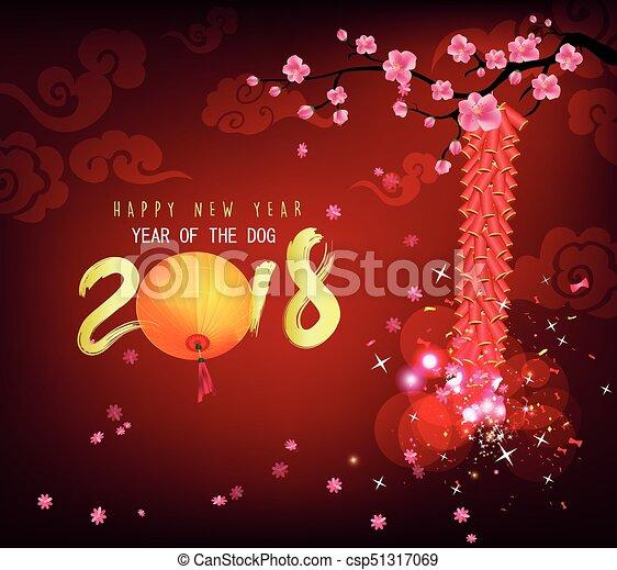 Feliz año nuevo 2018 tarjeta de felicitación - csp51317069