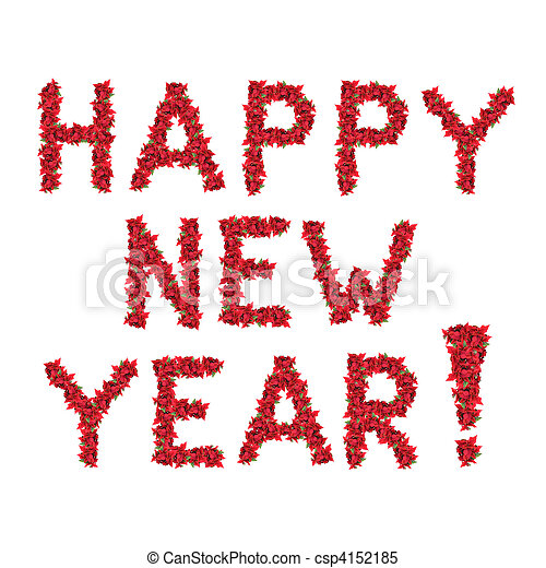 Feliz año nuevo saludos de las flores rojas de Navidad aisladas en blanco - csp4152185