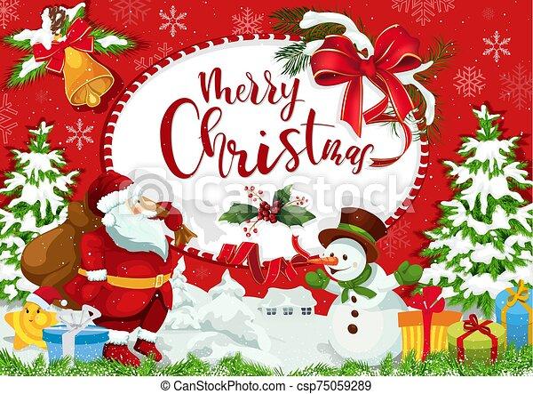 saludo, feliz navidad, tarjeta, vacaciones - csp75059289