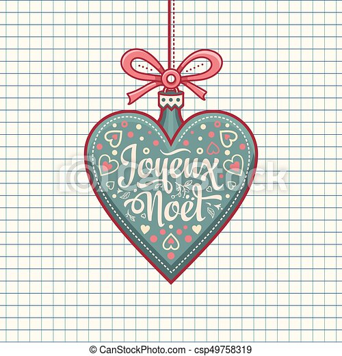 Feliz Navidad francesa Joyeux noel. Tarjeta de bienvenida - csp49758319