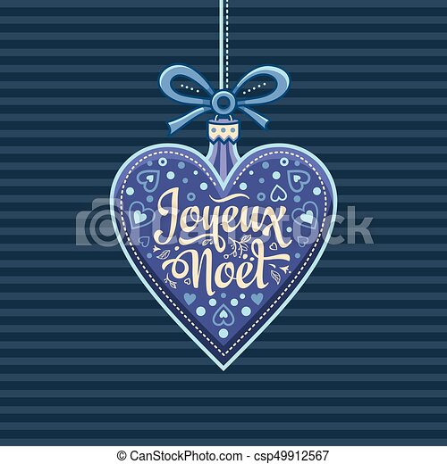 Feliz Navidad francesa Joyeux noel. Tarjeta de bienvenida - csp49912567