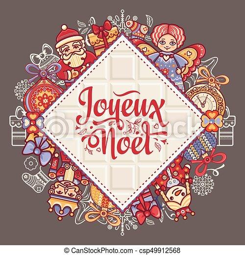 Feliz Navidad francesa Joyeux noel. Tarjeta de bienvenida - csp49912568