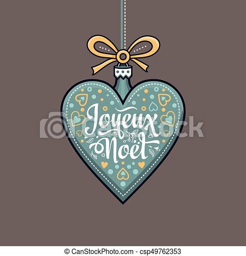 Feliz Navidad francesa Joyeux noel. Tarjeta de bienvenida - csp49762353