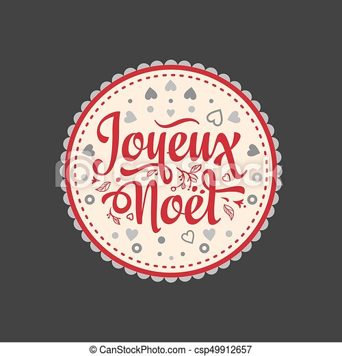 Feliz Navidad francesa Joyeux noel. Tarjeta de bienvenida - csp49912657