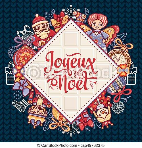 Feliz Navidad francesa Joyeux noel. Tarjeta de bienvenida - csp49762375