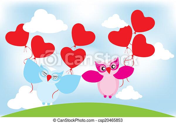 Día de San Valentín encantadoras lechuzas tarjeta de felicitación - csp20465853