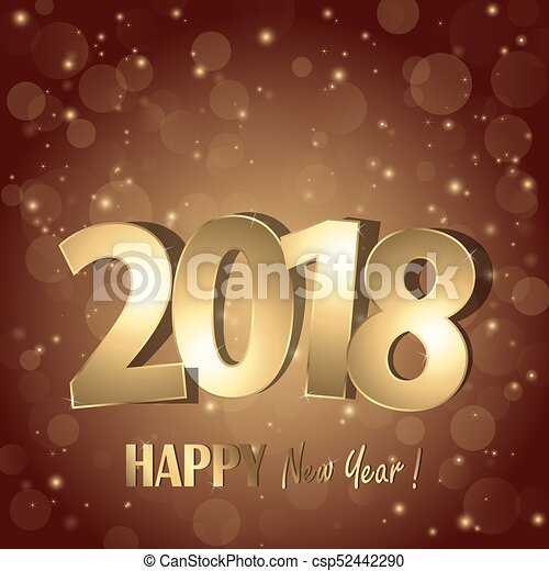 Feliz año nuevo 2018 saludos de fondo - csp52442290