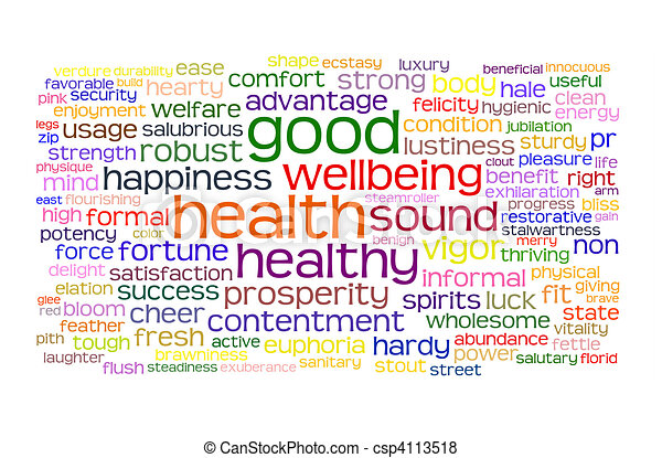 salute, buono, wellbeing, nuvola, etichetta - csp4113518