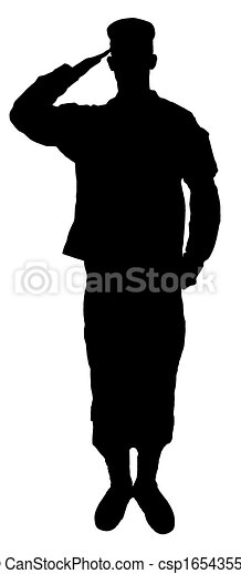 Saluting army soldier's  silhouette isolated on white - csp16543557