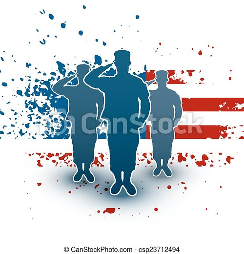 Saluting soldiers silhouette on american flag background - csp23712494