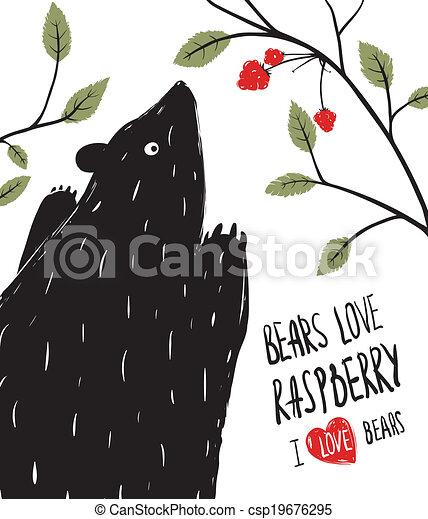 Al oso negro le encanta la frambuesa - csp19676295