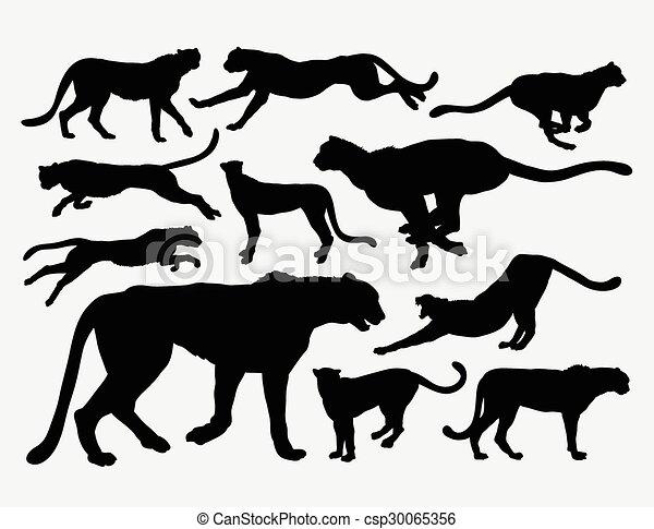Chita siluetas de animales salvajes - csp30065356