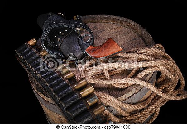 salvaje, gunbelt, viejo, cartuchos, arma de fuego, oeste - csp79044030