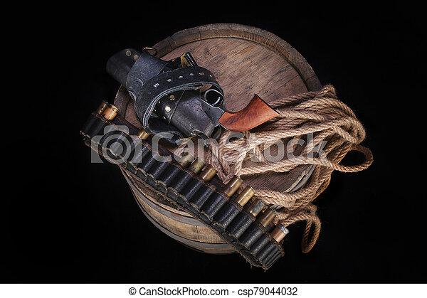 salvaje, gunbelt, viejo, cartuchos, arma de fuego, oeste - csp79044032