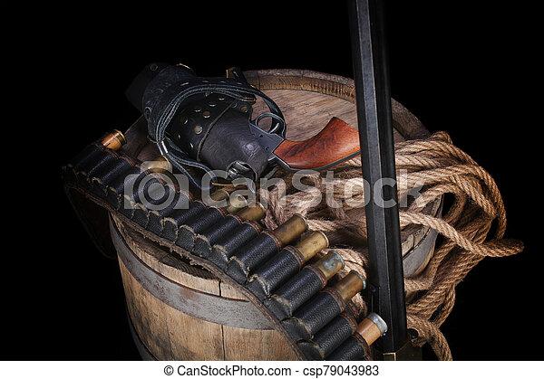 salvaje, gunbelt, viejo, cartuchos, arma de fuego, oeste - csp79043983
