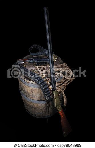 salvaje, gunbelt, viejo, cartuchos, arma de fuego, oeste - csp79043989