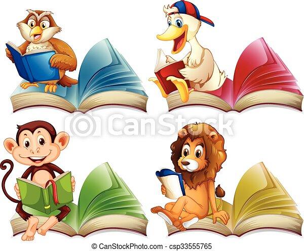 Animales salvajes leyendo libros - csp33555765