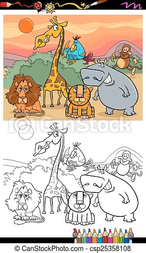 Salvaje, libro colorear, animales, caricatura. Divertido, colorido ...