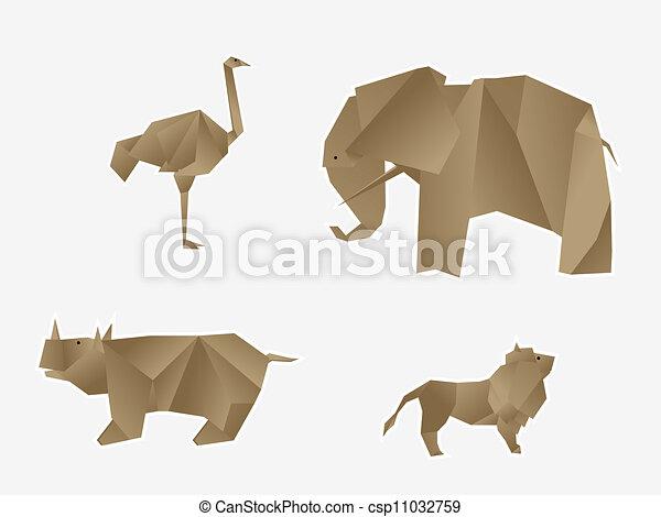 Animales salvajes origami - csp11032759