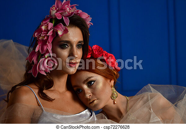 Retrato de las dos hermosas damas con flores silvestres. Elegancia. Lucha de fantasía - csp72276628