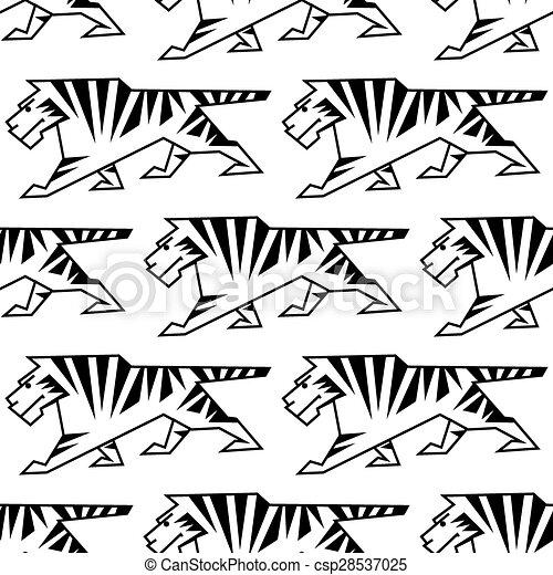 salvaje, tigre, contorno, seamless, patrón - csp28537025