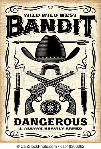 Un póster de bandidos del oeste - csp48386062