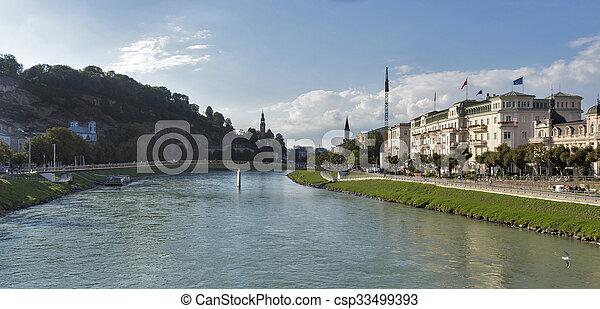 Salzach river and Makartsteg bridge in Salzburg, Austria - csp33499393