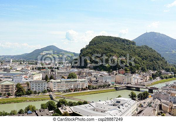 Salzach river flows through Salzburg city centre in Austria - csp28887249