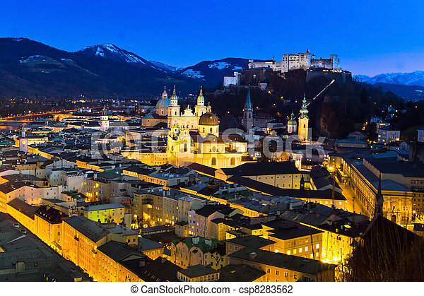 salzburg, austria, cityscape - csp8283562