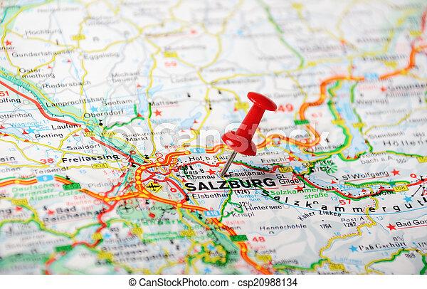 Salzburg Austria Map Close Up Of Salzburg Austria Map With Red