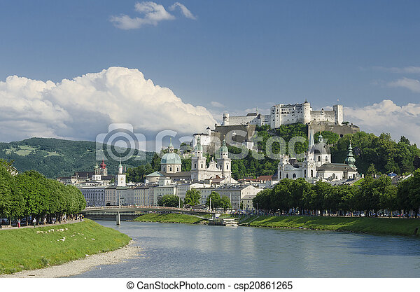Salzburg City Historic Center Panor - csp20861265