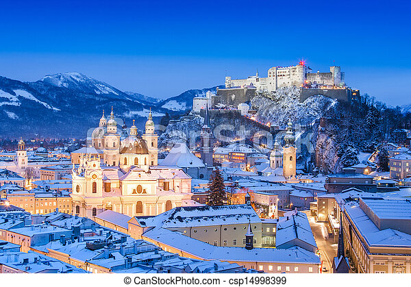 Salzburg in winter, Austria - csp14998399